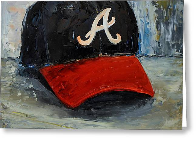 Baseball Art Greeting Cards - Atlanta Braves Greeting Card by Lindsay Frost