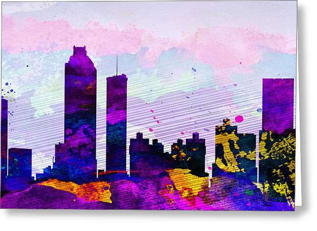 Architectural Paintings Greeting Cards - Atlanta City Skyline Greeting Card by Naxart Studio