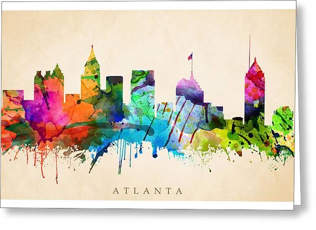 Steve Will Greeting Cards - Atlanta Cityscape Greeting Card by Steve Will