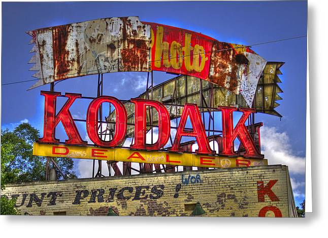 Ponce Greeting Cards - Atlanta Classic Kodak Sign Ponce De Leon 2 Greeting Card by Reid Callaway