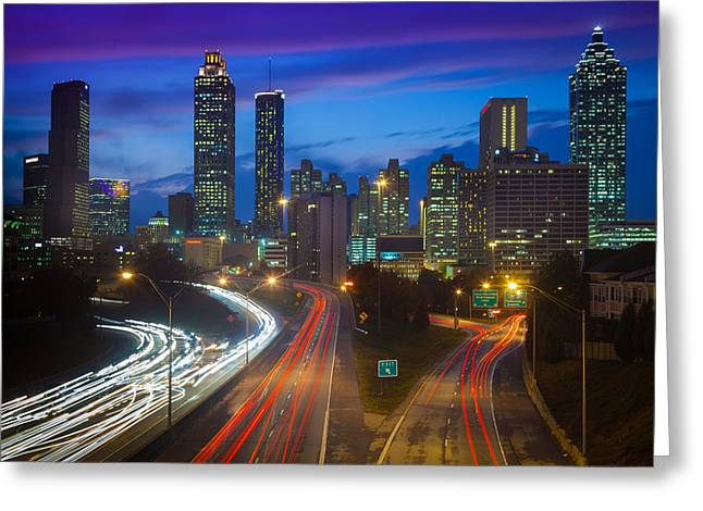 Tourists Greeting Cards - Atlanta downtown by night Greeting Card by Inge Johnsson