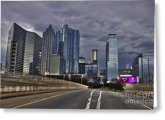 Grady Greeting Cards - Atlanta Downtown Skyline Spring Street Reflections Greeting Card by Reid Callaway