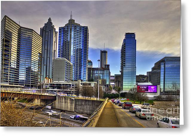 Grady Greeting Cards - Atlanta Downtown Spring Street Reflections  Greeting Card by Reid Callaway