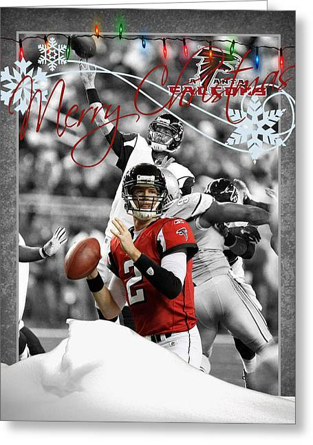 Falcons Greeting Cards - Atlanta Falcons Christmas Card Greeting Card by Joe Hamilton