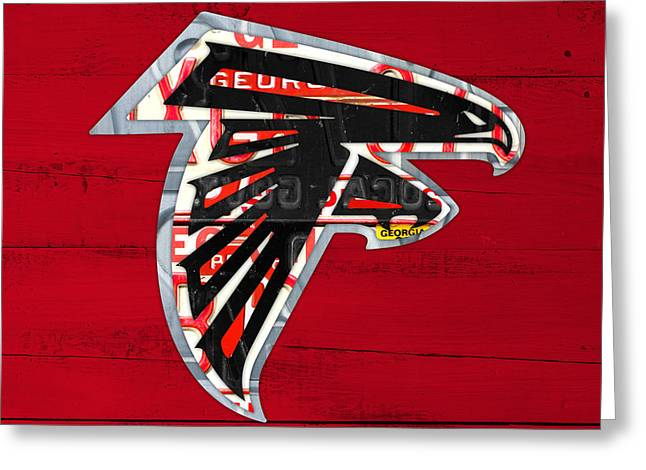 Team Mixed Media Greeting Cards - Atlanta Falcons Football Team Retro Logo Georgia License Plate Art Greeting Card by Design Turnpike