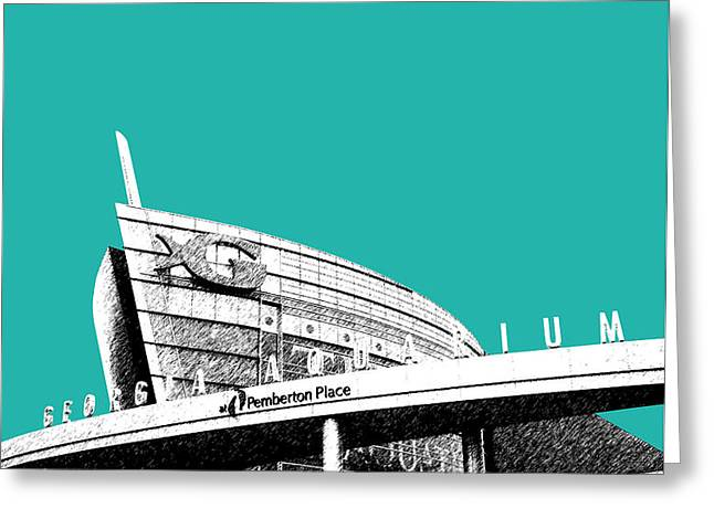 Atlanta Georgia Aquarium - Teal Green Greeting Card by DB Artist