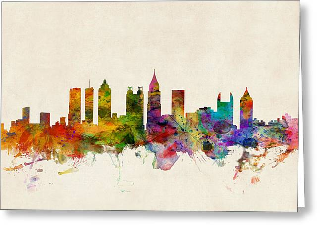 Urban Watercolour Greeting Cards - Atlanta Georgia Skyline Greeting Card by Michael Tompsett