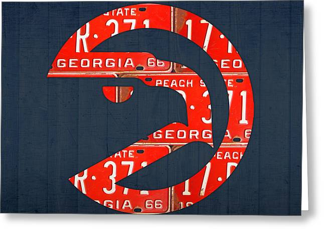Basketball Team Greeting Cards - Atlanta Hawks Basketball Team Retro Logo Vintage Recycled Georgia License Plate Art Greeting Card by Design Turnpike