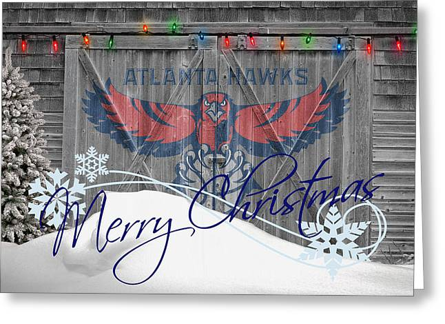 3 Pointer Greeting Cards - Atlanta Hawks Greeting Card by Joe Hamilton