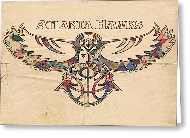 Dunk Greeting Cards - Atlanta Hawks Poster Vintage Greeting Card by Florian Rodarte