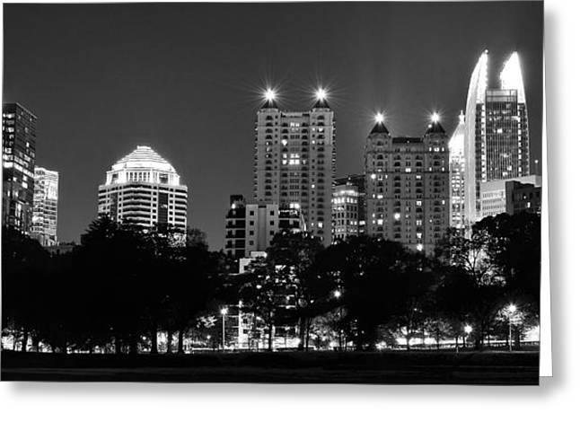 Night Hawk Greeting Cards - Atlanta in Black and White Greeting Card by Frozen in Time Fine Art Photography