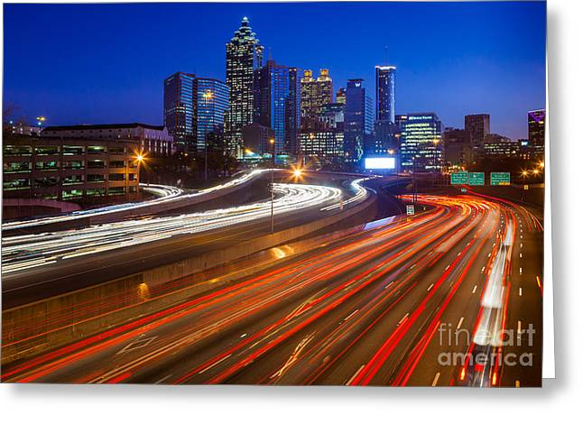 Atlanta Interstate I-85 By Night Greeting Card by Inge Johnsson