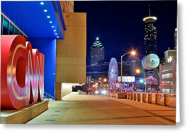 Night Hawk Greeting Cards - Atlanta Outside CNN Greeting Card by Frozen in Time Fine Art Photography