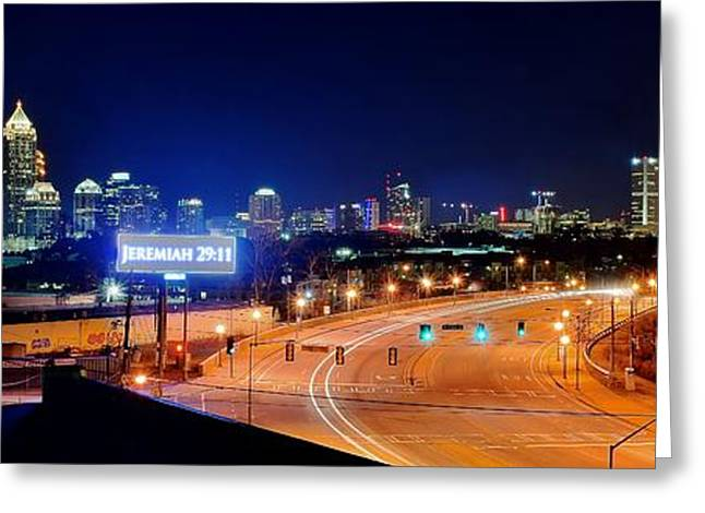 Night Hawk Greeting Cards - Atlanta Panorama Greeting Card by Frozen in Time Fine Art Photography