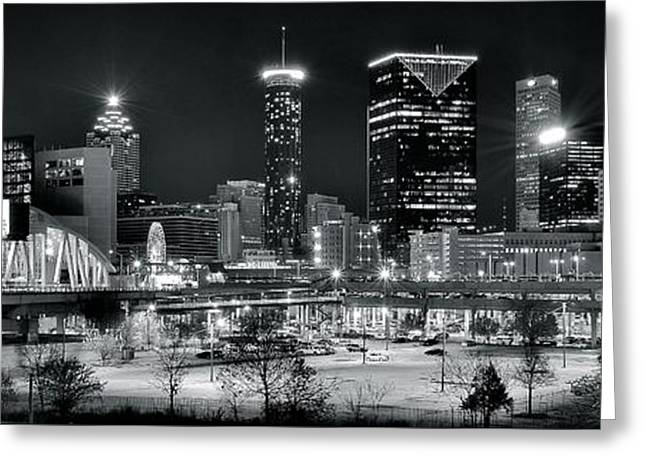 Night Hawk Greeting Cards - Atlanta Panoramic Black and White Greeting Card by Frozen in Time Fine Art Photography