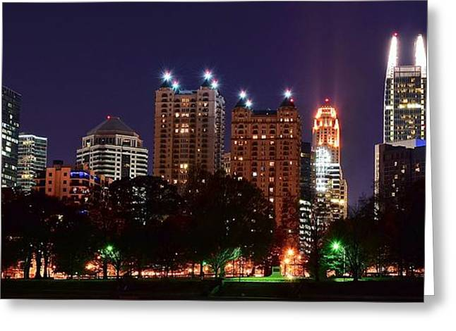 Night Hawk Greeting Cards - Atlanta Panoramic From Piedmont Park Greeting Card by Frozen in Time Fine Art Photography