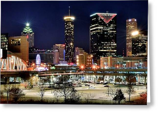 Night Hawk Greeting Cards - Atlanta Panoramic View Greeting Card by Frozen in Time Fine Art Photography