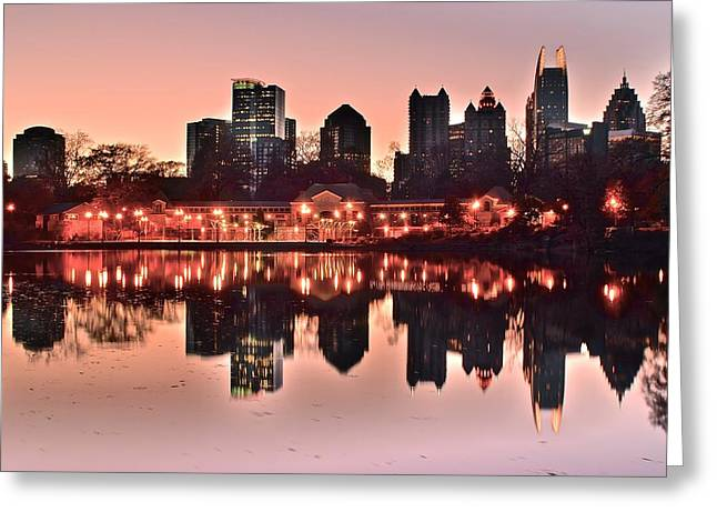 Night Hawk Greeting Cards - Atlanta Piedmont Pink Greeting Card by Frozen in Time Fine Art Photography