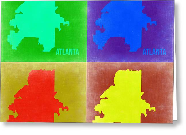 World Maps Mixed Media Greeting Cards - Atlanta Pop Art Map 2 Greeting Card by Naxart Studio
