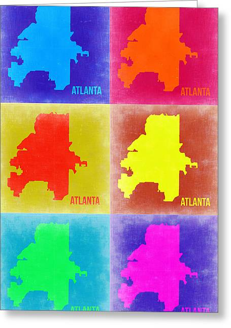 World Maps Mixed Media Greeting Cards - Atlanta Pop Art Map 3 Greeting Card by Naxart Studio