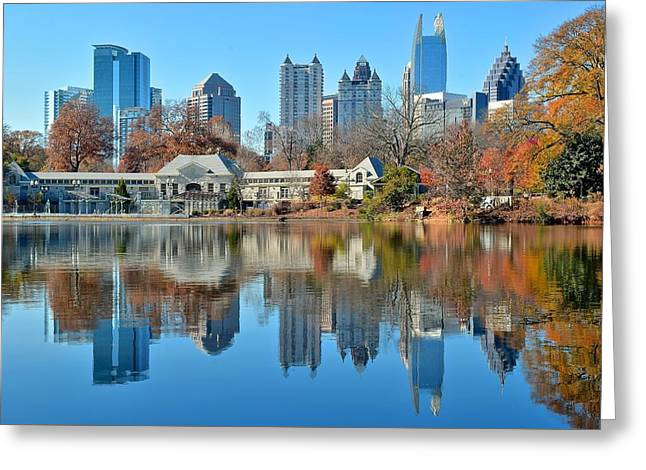 Night Hawk Greeting Cards - Atlanta Reflected Greeting Card by Frozen in Time Fine Art Photography