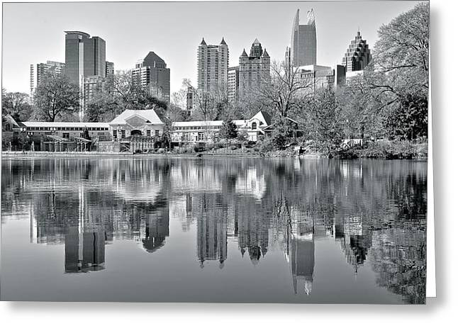 Night Hawk Greeting Cards - Atlanta Reflecting in Black and White Greeting Card by Frozen in Time Fine Art Photography
