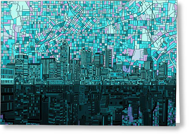Urban Buildings Digital Greeting Cards - Atlanta Skyline Abstract 2 Greeting Card by MB Art factory