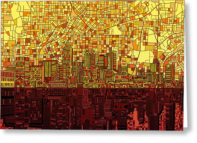 Urban Buildings Digital Greeting Cards - Atlanta Skyline Abstract 3 Greeting Card by MB Art factory