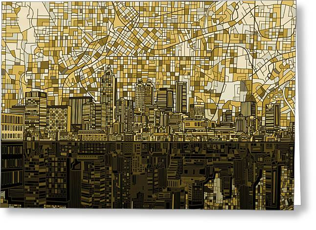Urban Buildings Digital Greeting Cards - Atlanta Skyline Abstract Greeting Card by MB Art factory