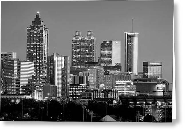 Midtown Greeting Cards - Atlanta Skyline at Dusk Downtown Black and White BW Panorama Greeting Card by Jon Holiday