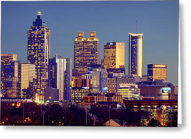Midtown Greeting Cards - Atlanta Skyline at Dusk Downtown Color Panorama Greeting Card by Jon Holiday