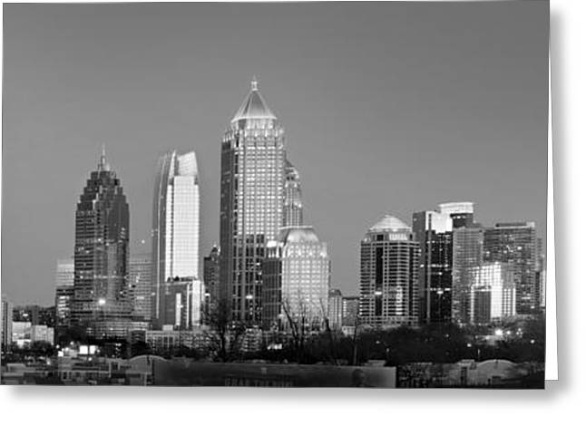 Midtown Greeting Cards - Atlanta Skyline at Dusk Midtown Black and White BW Panorama Greeting Card by Jon Holiday