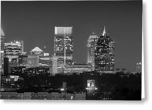 Trails Greeting Cards - Atlanta Skyline at Night Downtown Midtown Black and White BW Panorama Greeting Card by Jon Holiday