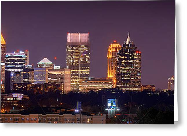 Panoramic Ocean Photographs Greeting Cards - Atlanta Skyline at Night Downtown Midtown Color Panorama Greeting Card by Jon Holiday
