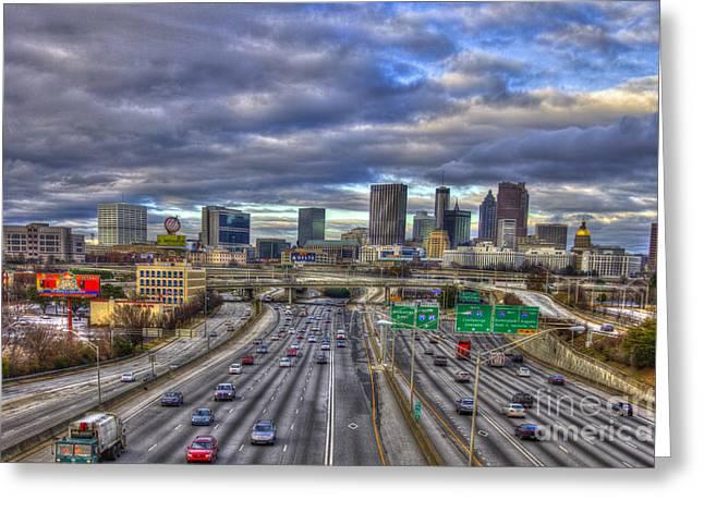 Grady Greeting Cards - Atlanta Skyline Cityscape 3 Greeting Card by Reid Callaway