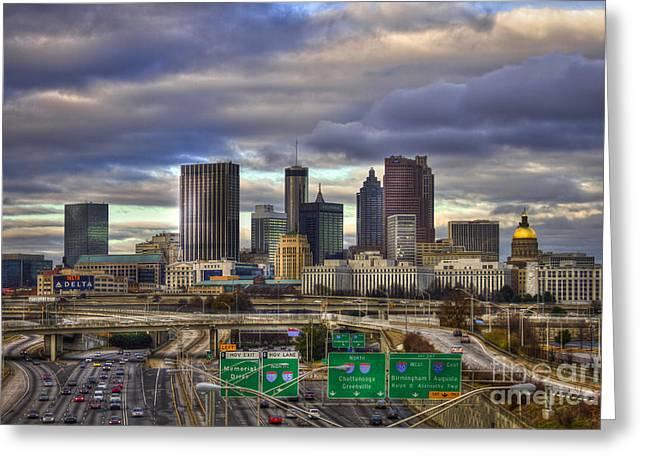 Metropolitan Area Greeting Cards - Atlanta Skyline Cityscape South View Greeting Card by Reid Callaway