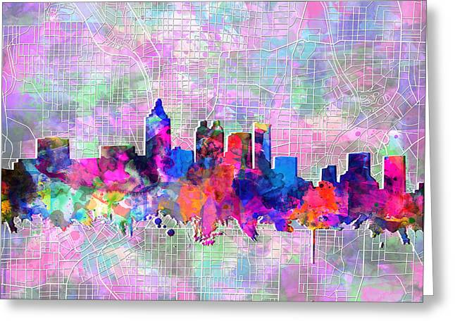 Urban Buildings Digital Greeting Cards - Atlanta Skyline Watercolor 4 Greeting Card by MB Art factory