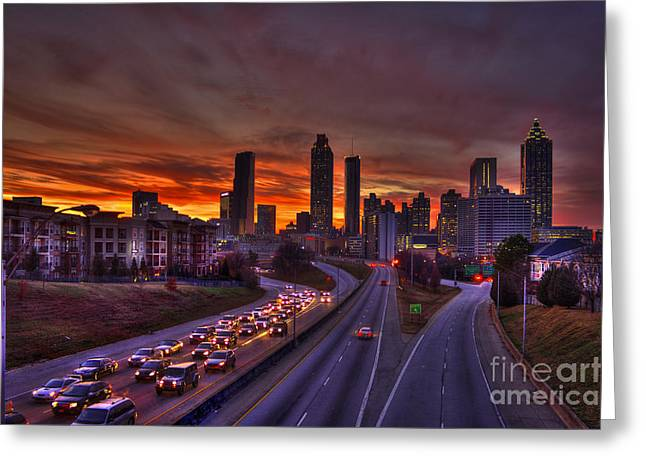 Grady Greeting Cards - Atlanta Sunset Going Nowhere Fast 2 Greeting Card by Reid Callaway