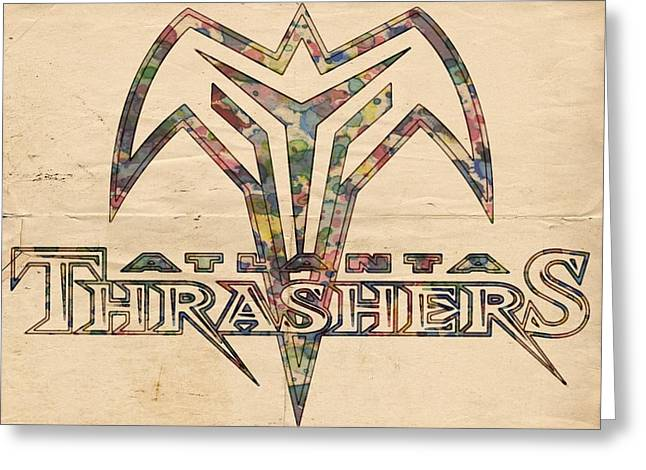 Goaltender Greeting Cards - Atlanta Thrashers Vintage Poster Greeting Card by Florian Rodarte