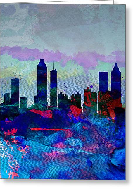 United States Capital Greeting Cards - Atlanta Watercolor Skyline Greeting Card by Naxart Studio
