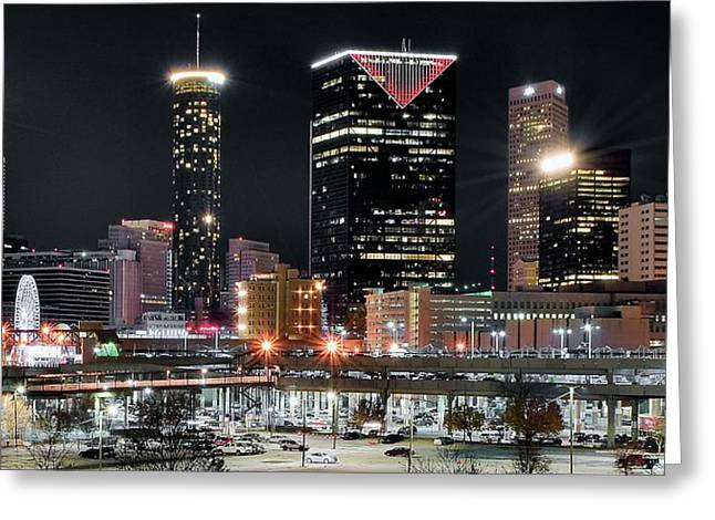 Night Hawk Greeting Cards - Atlanta Wide Angle Greeting Card by Frozen in Time Fine Art Photography