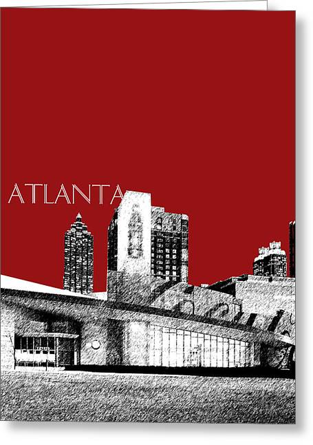 Pen And Ink Greeting Cards - Atlanta World of Coke Museum - Dark Red Greeting Card by DB Artist