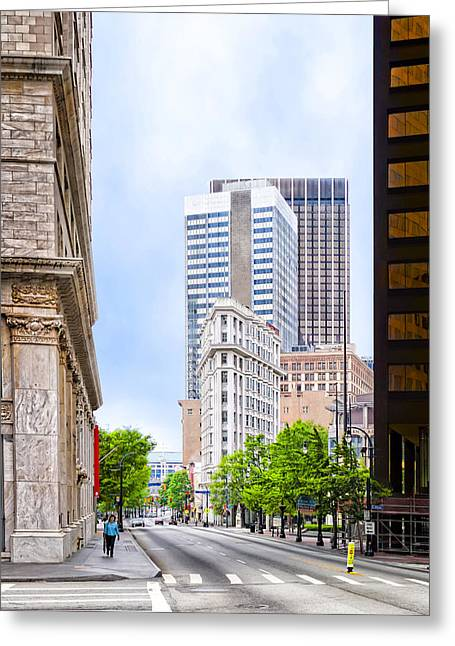 Historical Pictures Greeting Cards - Atlantas Flatiron on Peachtree Street Greeting Card by Mark Tisdale