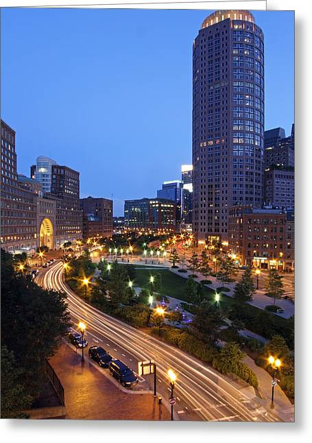 Faneuil Hall Greeting Cards - Atlantic Avenue with One International Place and Boston Harbor Hotel Greeting Card by Juergen Roth