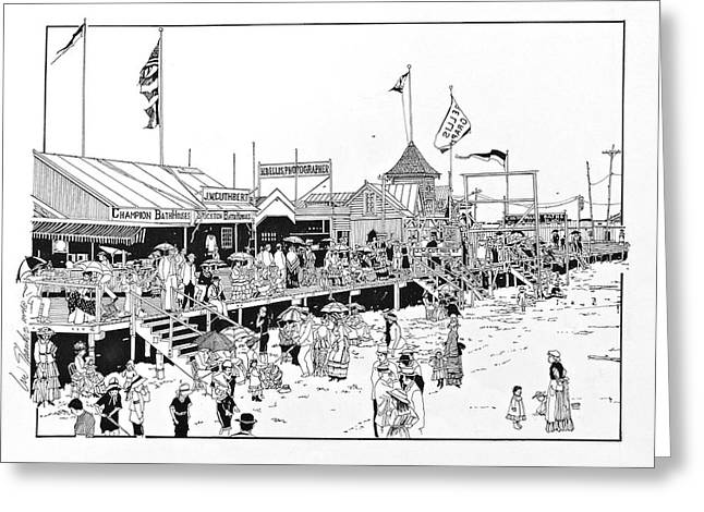 Atlantic Beaches Drawings Greeting Cards - Atlantic City Boardwalk 1883 Greeting Card by Ira Shander