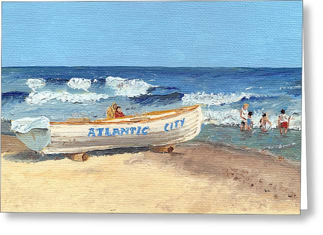Jersey Shore Paintings Greeting Cards - Atlantic City Beach Greeting Card by Arch
