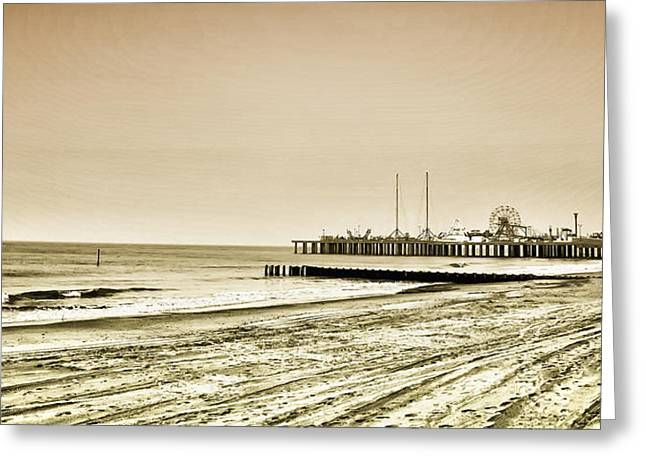 Casino Pier Digital Art Greeting Cards - Atlantic City Beach in Sepia Greeting Card by Bill Cannon