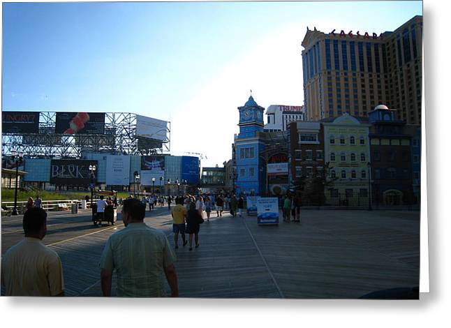 Sign Photographs Greeting Cards - Atlantic City - Boardwalk - 12129 Greeting Card by DC Photographer