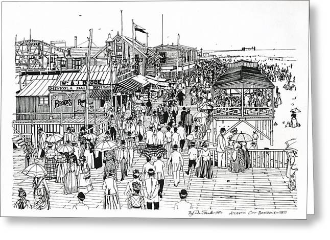 Atlantic Beaches Drawings Greeting Cards - Atlantic City Boardwalk 1890 Greeting Card by Ira Shander