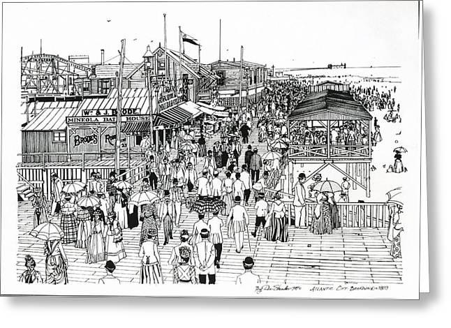 Atlantic Beaches Drawings Greeting Cards - Atlantic City Boardwalk 1890 Greeting Card by Ira Shander